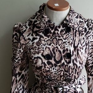 Bebe Leopard Cheetah Cat Print Trench Coat
